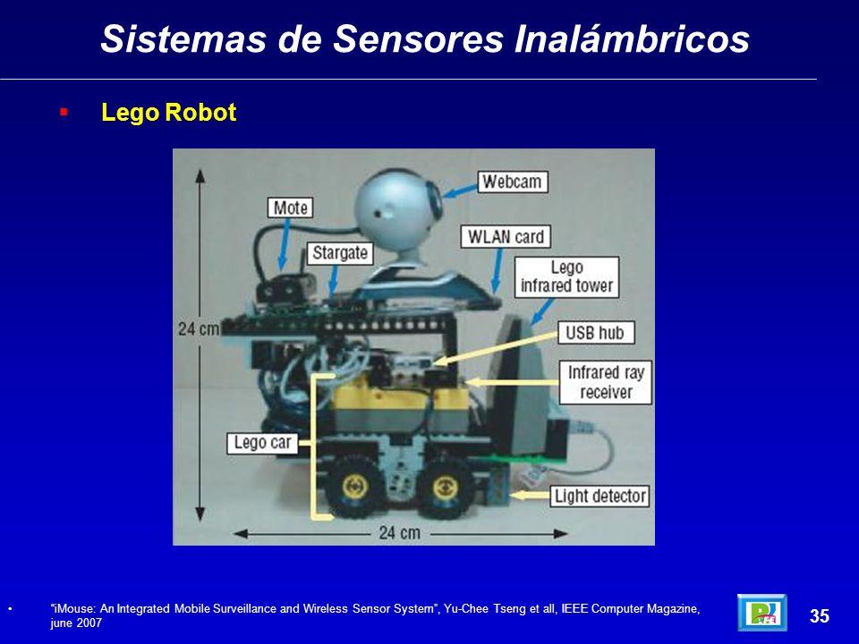 Sistemas de Sensores Inalámbricos 35 Lego Robot iMouse: An Integrated Mobile Surveillance and Wireless Sensor System, Yu-Chee Tseng et all, IEEE Computer Magazine, june 2007