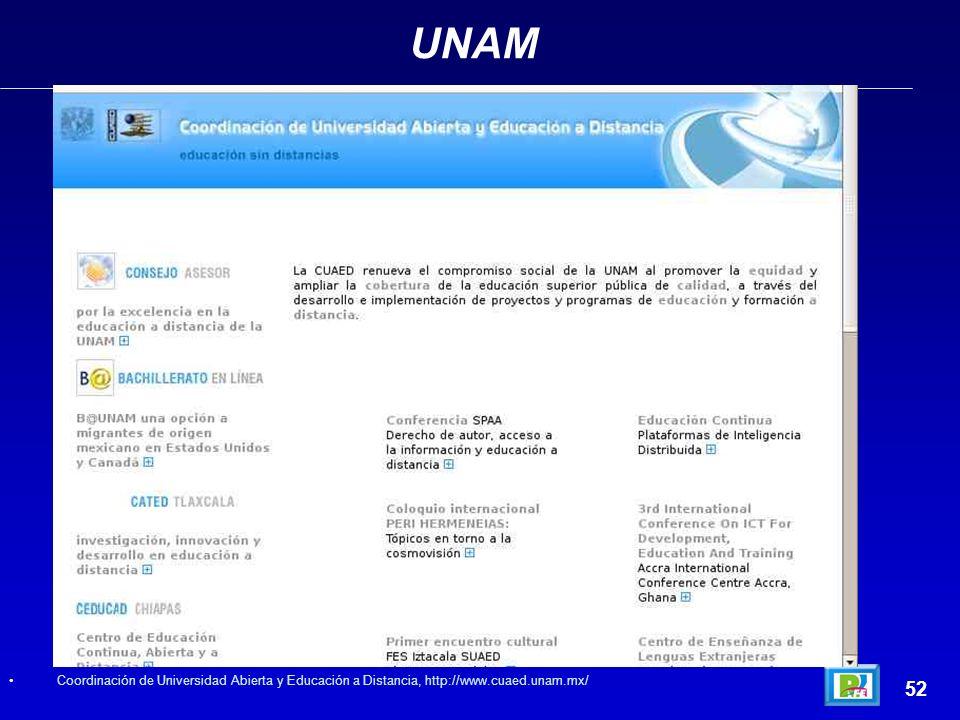 UNAM 52 Coordinación de Universidad Abierta y Educación a Distancia, http://www.cuaed.unam.mx/