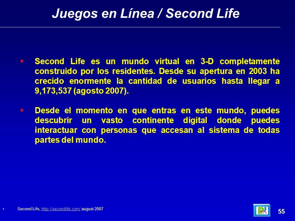 Juegos en Línea / Second Life 55 Second Life es un mundo virtual en 3-D completamente construido por los residentes.