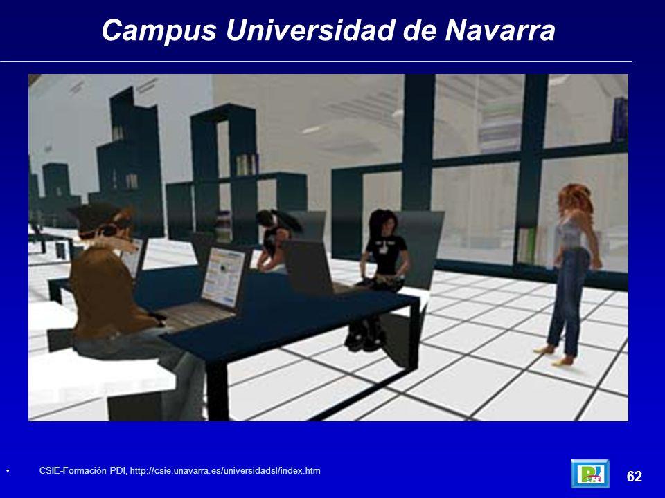 Campus Universidad de Navarra 62 CSIE-Formación PDI, http://csie.unavarra.es/universidadsl/index.htm