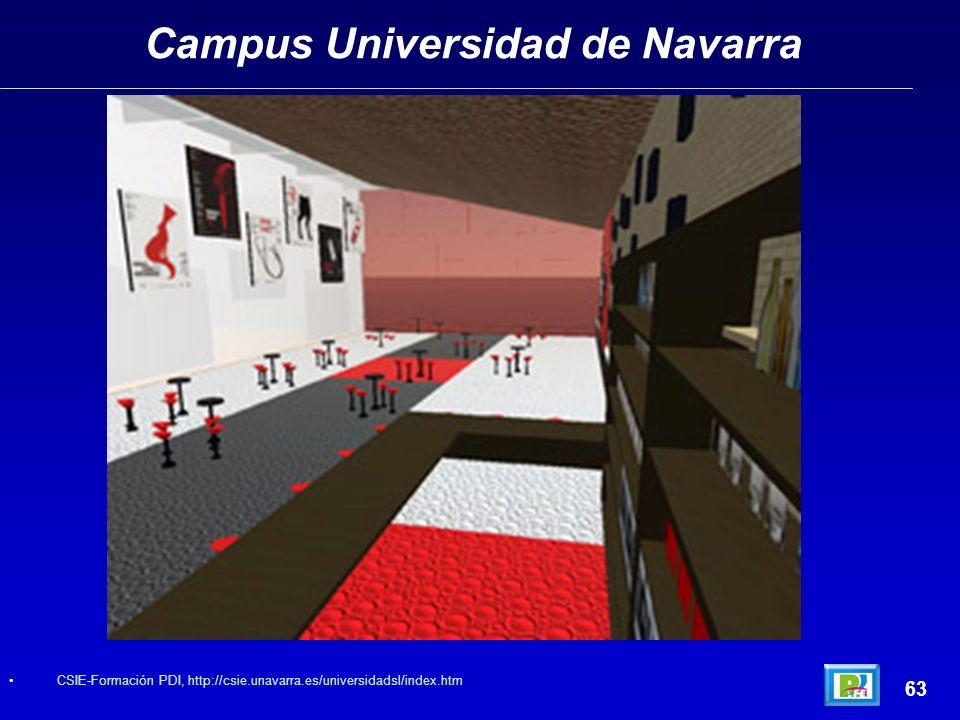 Campus Universidad de Navarra 63 CSIE-Formación PDI, http://csie.unavarra.es/universidadsl/index.htm