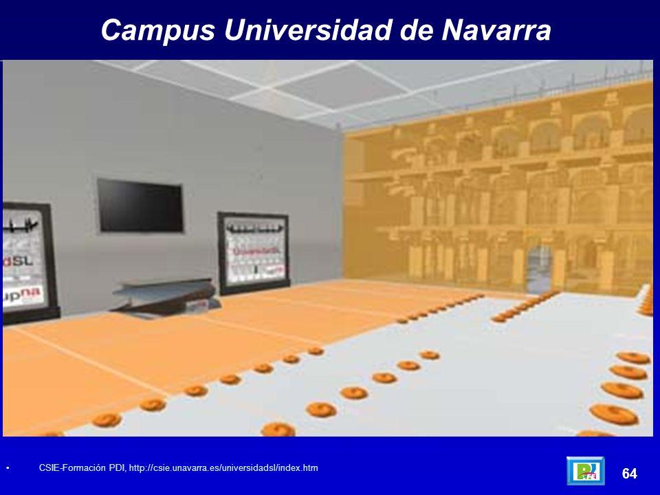 Campus Universidad de Navarra 64 CSIE-Formación PDI, http://csie.unavarra.es/universidadsl/index.htm