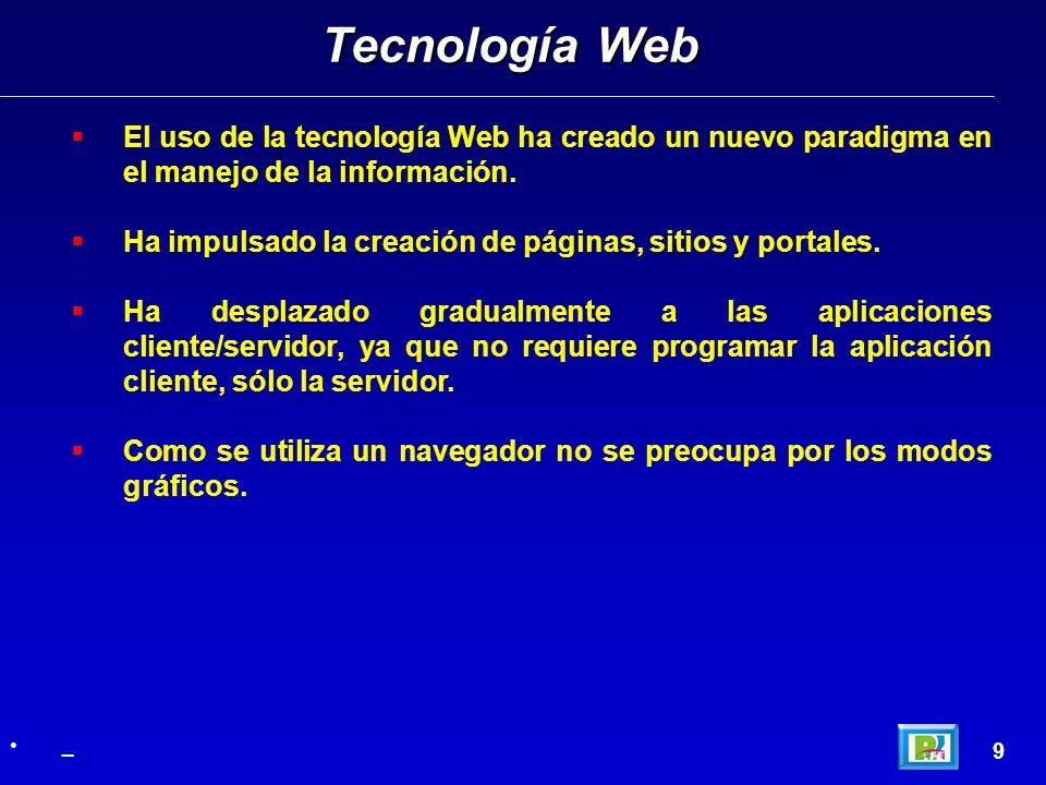 El uso de la tecnología Web ha creado un nuevo paradigma en el manejo de la información.