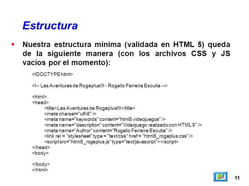 11 Estructura Las Aventuras de Rogeplus!!! Nuestra estructura mínima (validada en HTML 5) queda de la siguiente manera (con los archivos CSS y JS vací