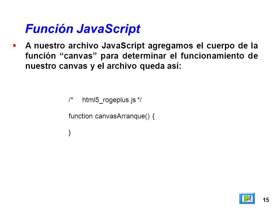 15 A nuestro archivo JavaScript agregamos el cuerpo de la función canvas para determinar el funcionamiento de nuestro canvas y el archivo queda así: F