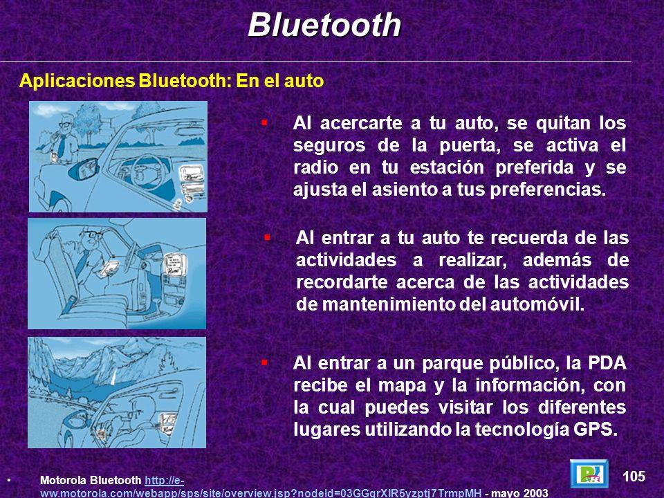 Aplicaciones Bluetooth: En el caminoBluetooth 104 Motorola Bluetooth http://e- ww.motorola.com/webapp/sps/site/overview.jsp?nodeId=03GGqrXlR5yzptj7Trm