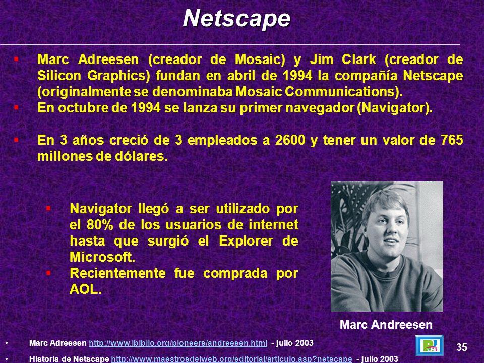 El proyecto fue desarrollado por Marc Andreessen (posterior cofundador de Netscape).Mosaic 34 The Mosaic Browser´s http://portal.ncsa.uiuc.edu/SJK/app