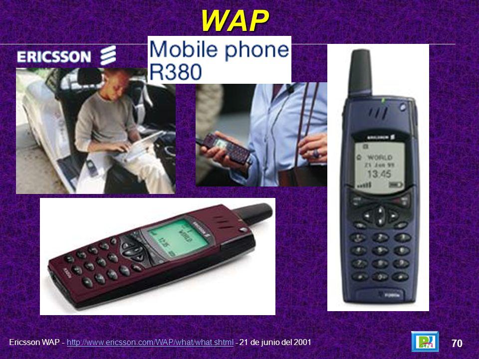 WAP Ericsson WAP - http://www.ericsson.com/WAP/what/what.shtml - 21 de junio del 2001http://www.ericsson.com/WAP/what/what.shtml 69
