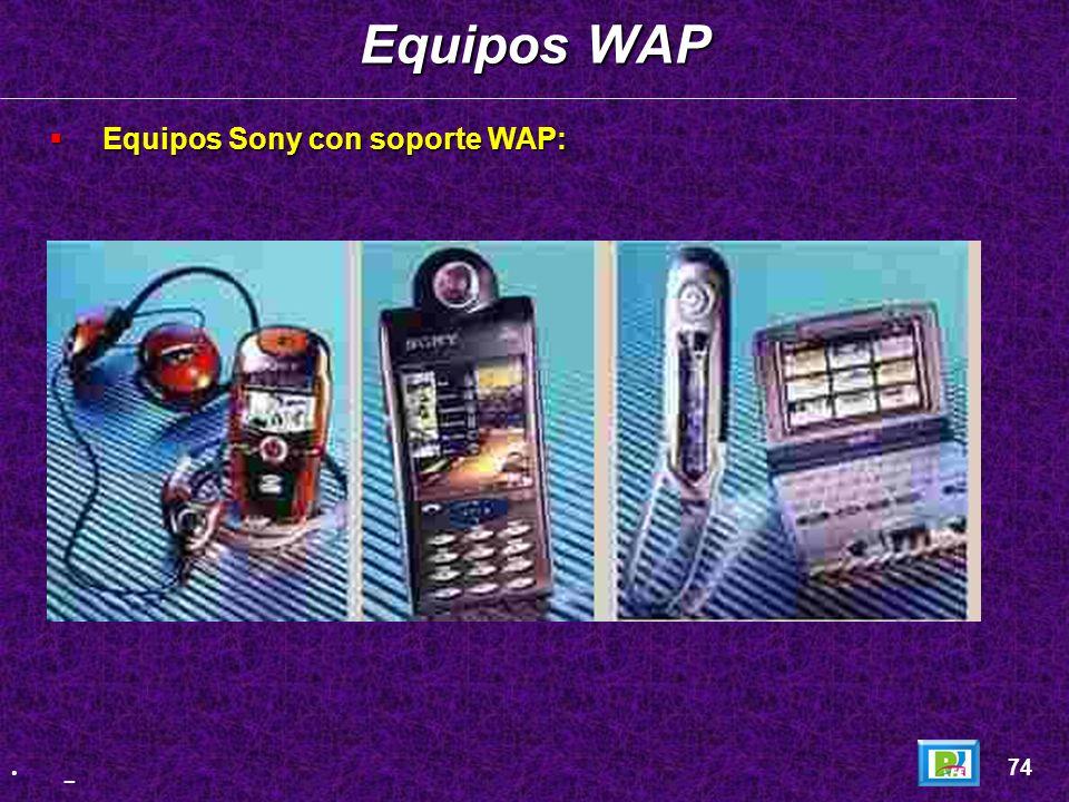 Equipos con soporte WAP: Equipos con soporte WAP: Equipos WAP 73 _