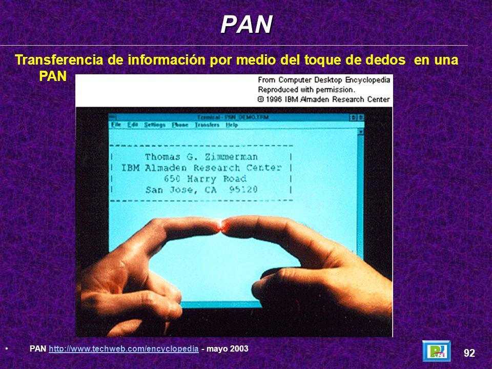 Conceptos: La Red de Area Personal (Personal Area Network) es una tecnología desarrollada en el centro de Investigación Almaden de IBM, en San José Ca