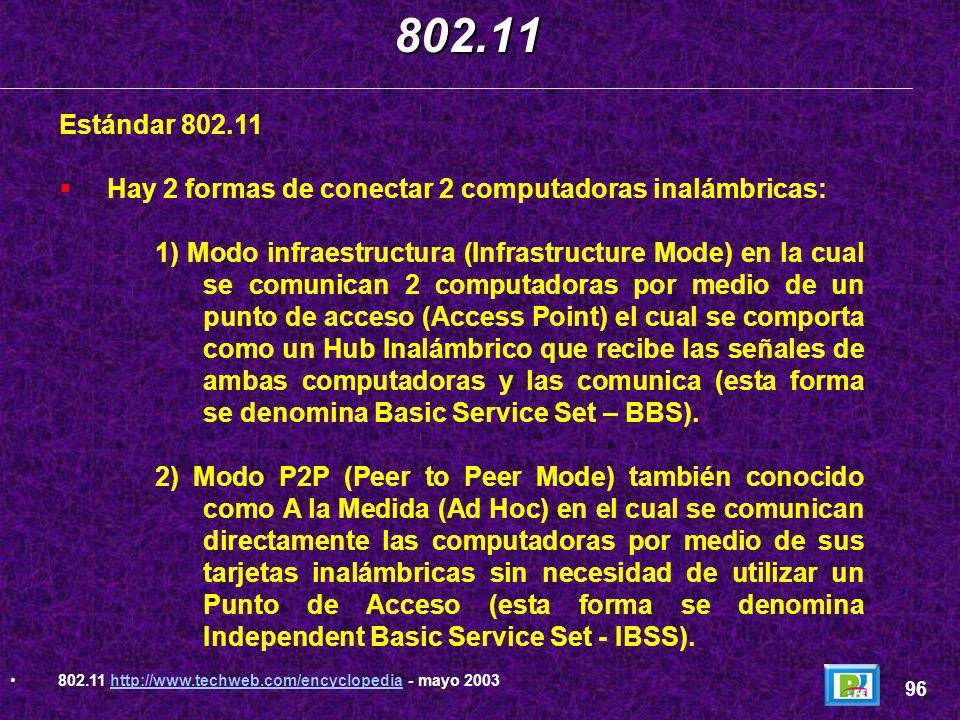 Rango de alcance y ancho de banda de los protocolos 802.11 802.11 95 802.11 http://www.techweb.com/encyclopedia - mayo 2003http://www.techweb.com/ency