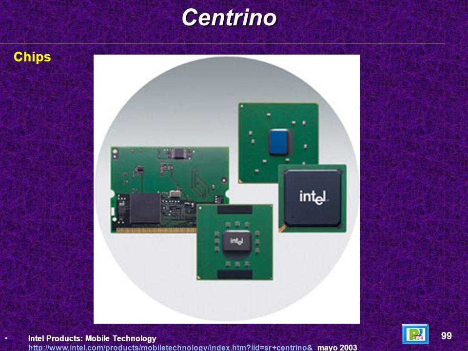 Conceptos: Centrino es un conjunto de circuitos integrados desarrollados por Intel en el 2003 para ser incluidas en PC´s móviles ( laptops). Estos cir