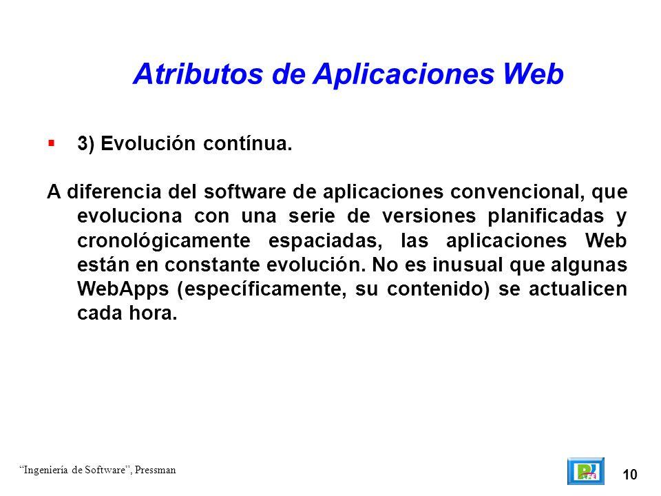 10 Atributos de Aplicaciones Web 3) Evolución contínua. A diferencia del software de aplicaciones convencional, que evoluciona con una serie de versi