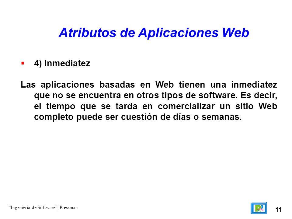 11 Atributos de Aplicaciones Web 4) Inmediatez Las aplicaciones basadas en Web tienen una inmediatez que no se encuentra en otros tipos de software. E