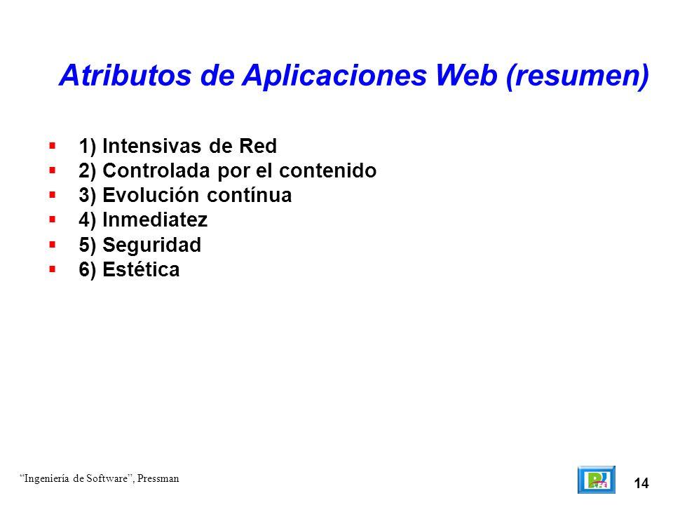 14 Atributos de Aplicaciones Web (resumen) Ingeniería de Software, Pressman 1) Intensivas de Red 2) Controlada por el contenido 3) Evolución contínua