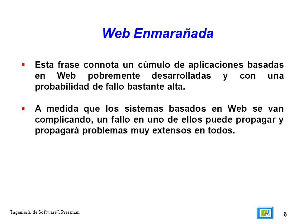 6 Web Enmarañada Esta frase connota un cúmulo de aplicaciones basadas en Web pobremente desarrolladas y con una probabilidad de fallo bastante alta.