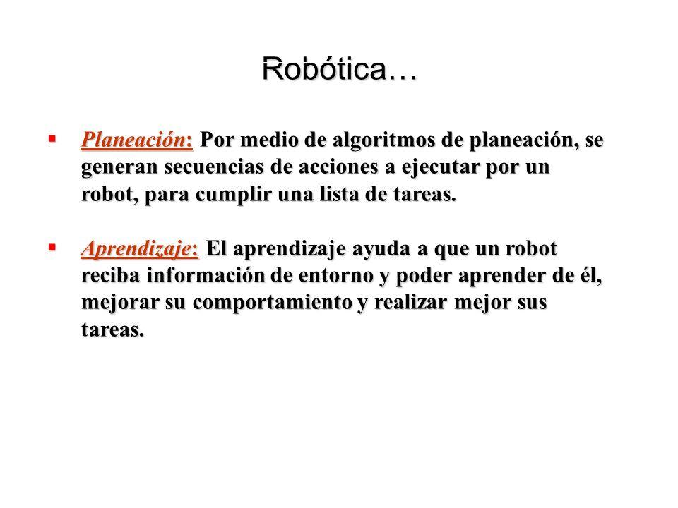 Planeación: Por medio de algoritmos de planeación, se generan secuencias de acciones a ejecutar por un robot, para cumplir una lista de tareas. Planea