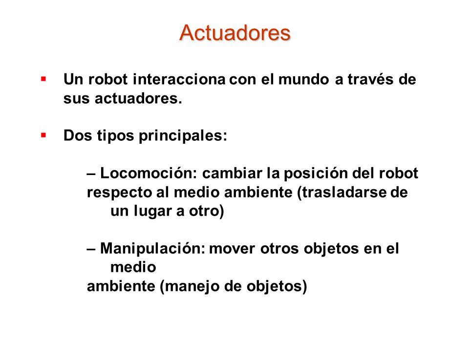 Un robot interacciona con el mundo a través de sus actuadores. Dos tipos principales: – Locomoción: cambiar la posición del robot respecto al medio am