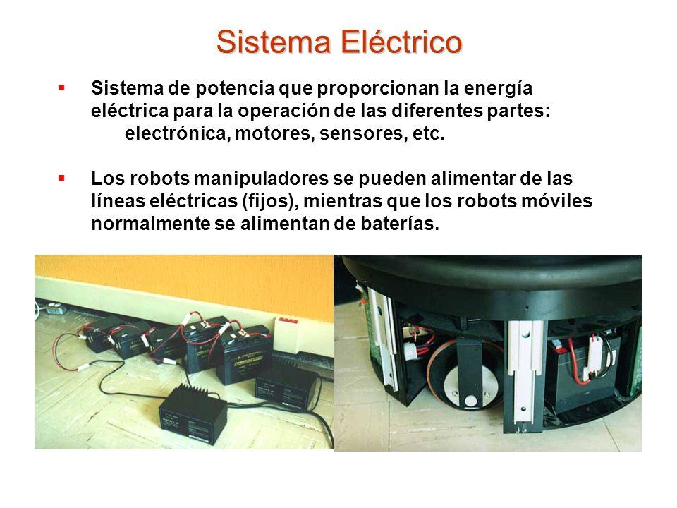 Sistema de potencia que proporcionan la energía eléctrica para la operación de las diferentes partes: electrónica, motores, sensores, etc. Los robots