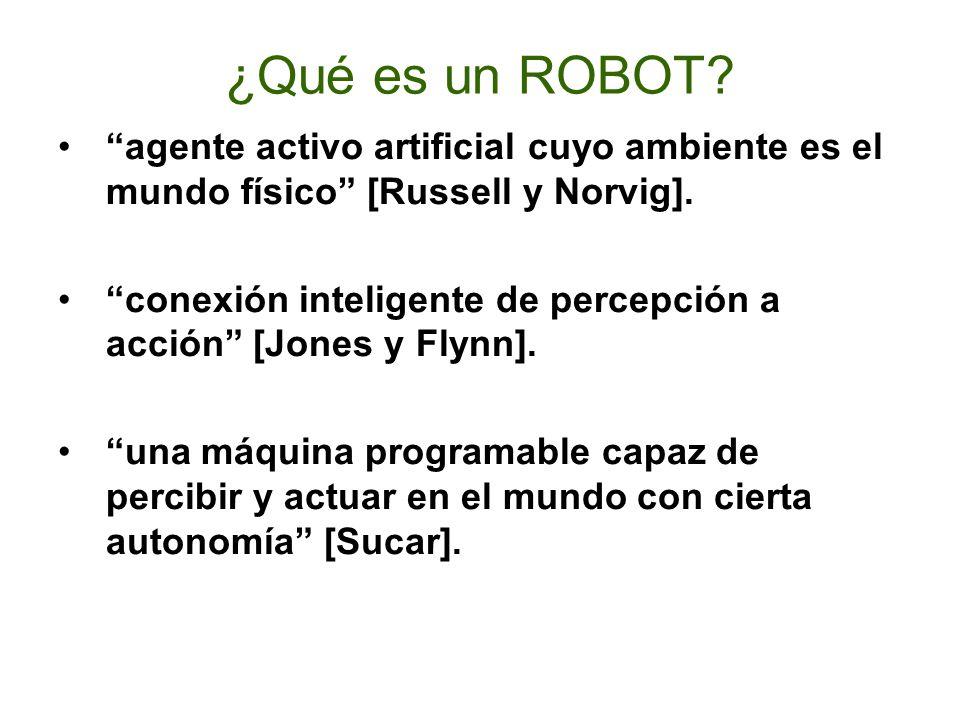 ROBOT La definición adoptada por el Instituto Norteamericano de Robótica aceptada internacionalmente para Robot es: Manipulador multifuncional y reprogramable, diseñado para mover materiales, piezas, herramientas o dispositivos especiales, mediante movimientos programados y variables que permiten llevar a cabo diversas tareas.