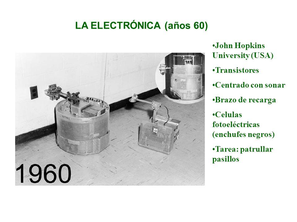 LOS ORDENADORES (años 70) Carrito con visión Stanford University (USA) Ordenador externo Seguimiento visual Luz natural Tarea: Seguimiento de línea