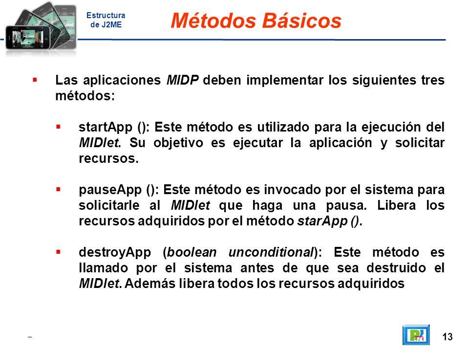 13 _ Métodos Básicos Las aplicaciones MIDP deben implementar los siguientes tres métodos: startApp (): Este método es utilizado para la ejecución del MIDlet.