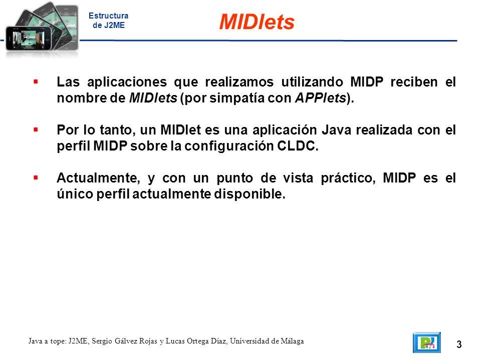 3 Java a tope: J2ME, Sergio Gálvez Rojas y Lucas Ortega Díaz, Universidad de Málaga MIDlets Las aplicaciones que realizamos utilizando MIDP reciben el nombre de MIDlets (por simpatía con APPlets).