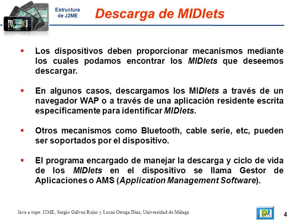 4 Java a tope: J2ME, Sergio Gálvez Rojas y Lucas Ortega Díaz, Universidad de Málaga Descarga de MIDlets Los dispositivos deben proporcionar mecanismos mediante los cuales podamos encontrar los MIDlets que deseemos descargar.