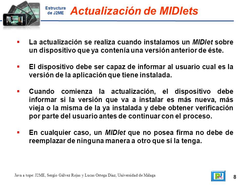 8 Java a tope: J2ME, Sergio Gálvez Rojas y Lucas Ortega Díaz, Universidad de Málaga Actualización de MIDlets La actualización se realiza cuando instalamos un MIDlet sobre un dispositivo que ya contenía una versión anterior de éste.
