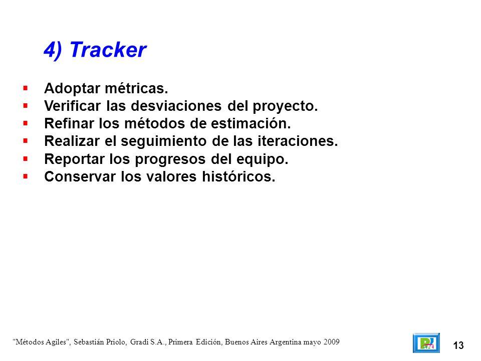 13 Adoptar métricas. Verificar las desviaciones del proyecto. Refinar los métodos de estimación. Realizar el seguimiento de las iteraciones. Reportar