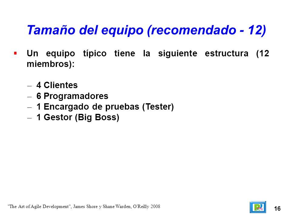 16 Un equipo típico tiene la siguiente estructura (12 miembros): – 4 Clientes – 6 Programadores – 1 Encargado de pruebas (Tester) – 1 Gestor (Big Boss