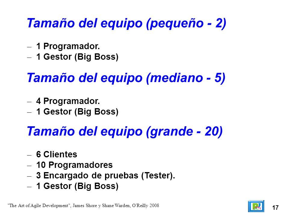 17 – 1 Programador. – 1 Gestor (Big Boss) Tamaño del equipo (pequeño - 2)