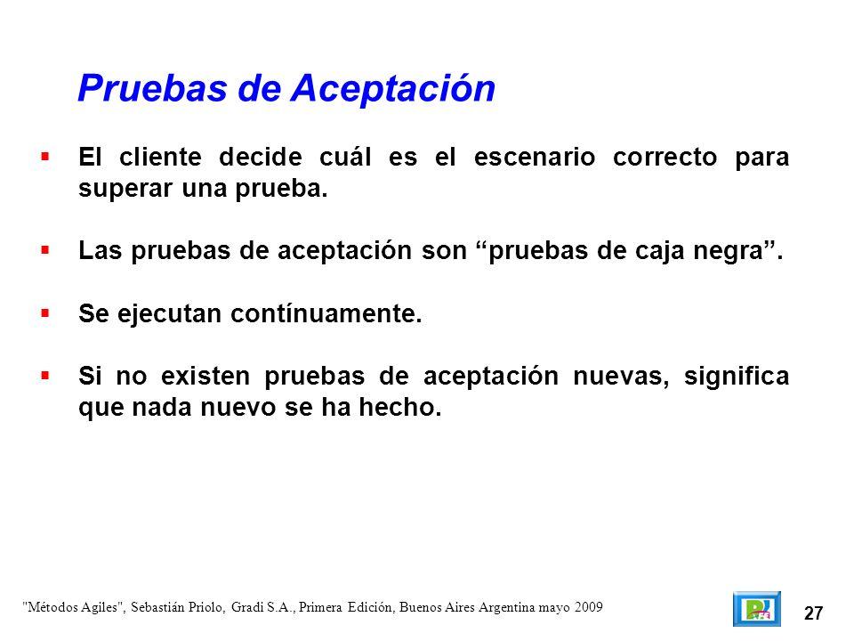 27 El cliente decide cuál es el escenario correcto para superar una prueba. Las pruebas de aceptación son pruebas de caja negra. Se ejecutan contínuam