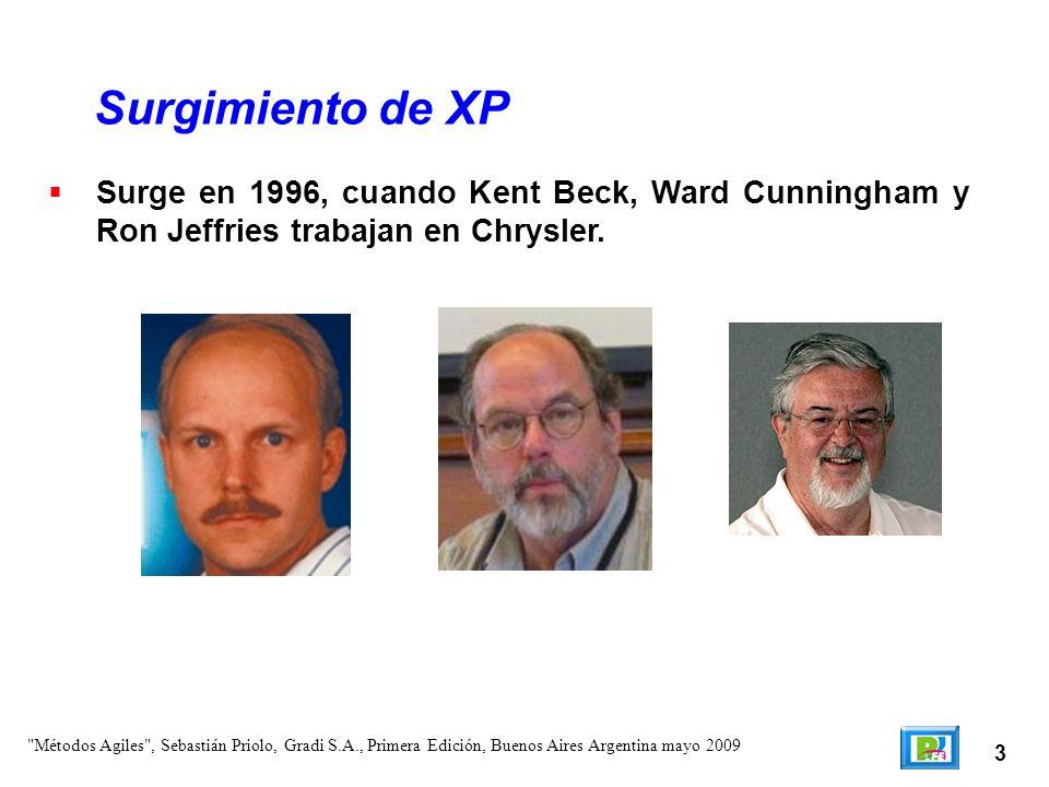 3 Surge en 1996, cuando Kent Beck, Ward Cunningham y Ron Jeffries trabajan en Chrysler. Surgimiento de XP