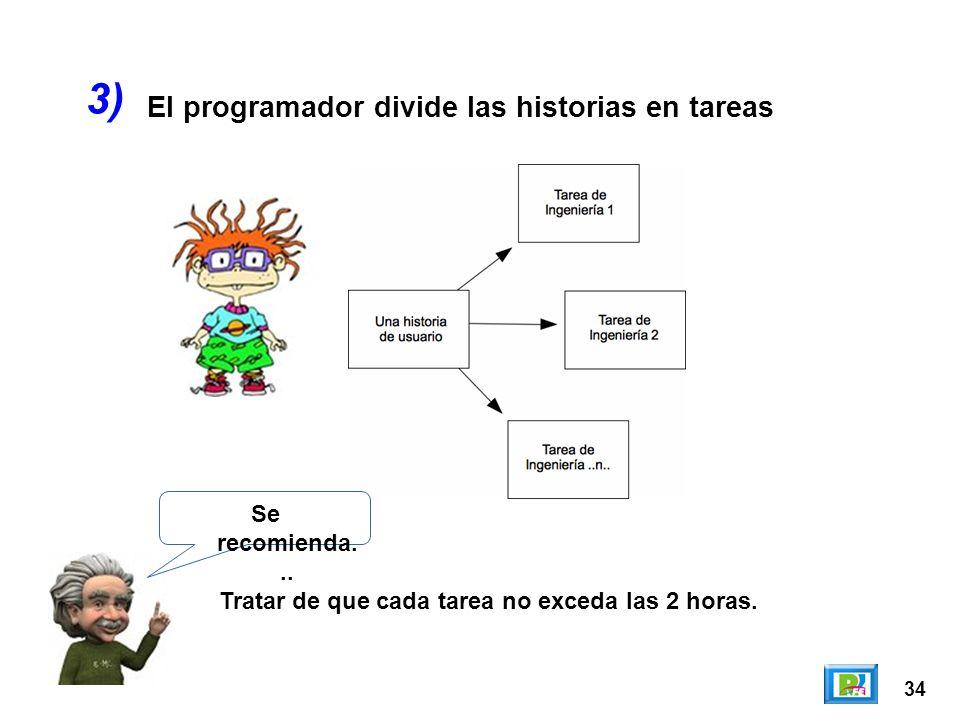 34 El programador divide las historias en tareas 3) Se recomienda... Tratar de que cada tarea no exceda las 2 horas.