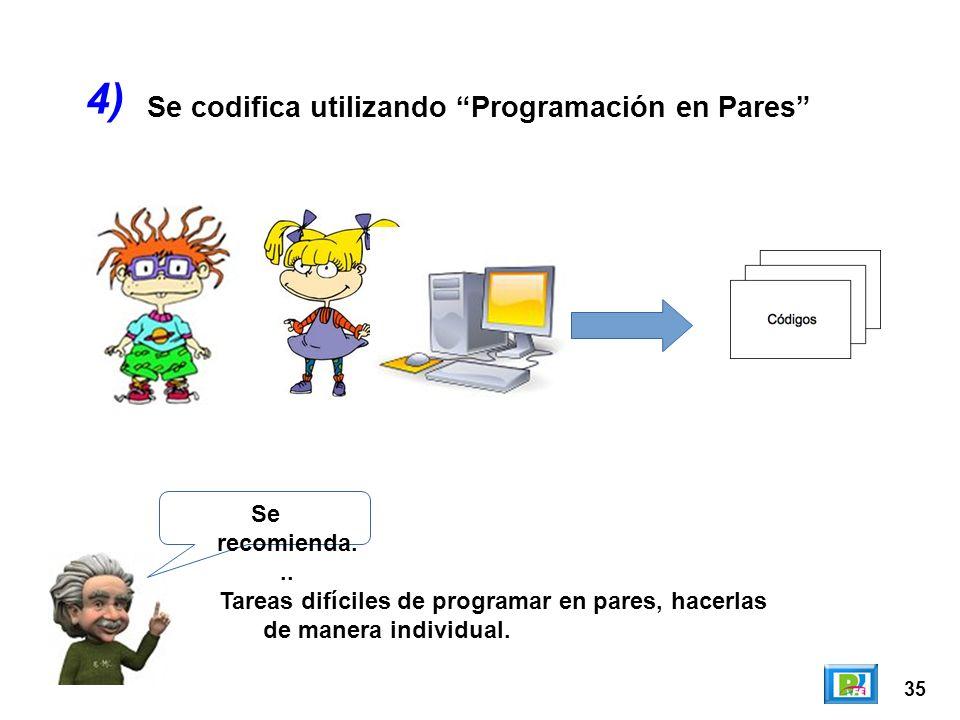 35 Se codifica utilizando Programación en Pares 4) Se recomienda... Tareas difíciles de programar en pares, hacerlas de manera individual.