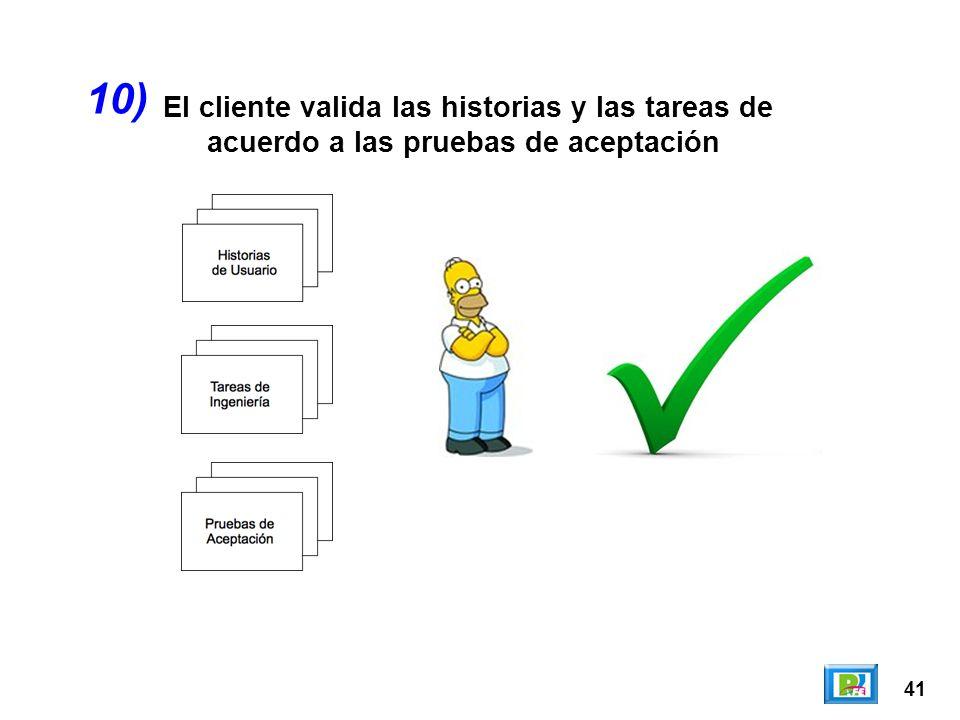 41 El cliente valida las historias y las tareas de acuerdo a las pruebas de aceptación 10)