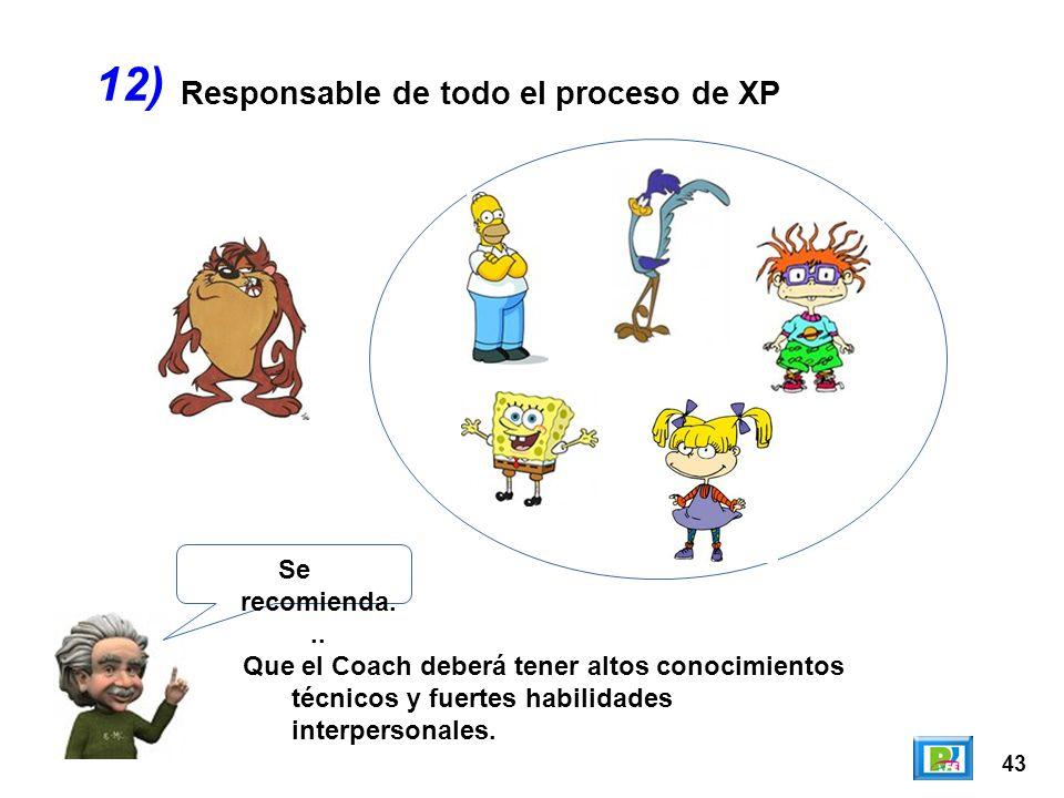 43 Responsable de todo el proceso de XP 12) Se recomienda... Que el Coach deberá tener altos conocimientos técnicos y fuertes habilidades interpersona
