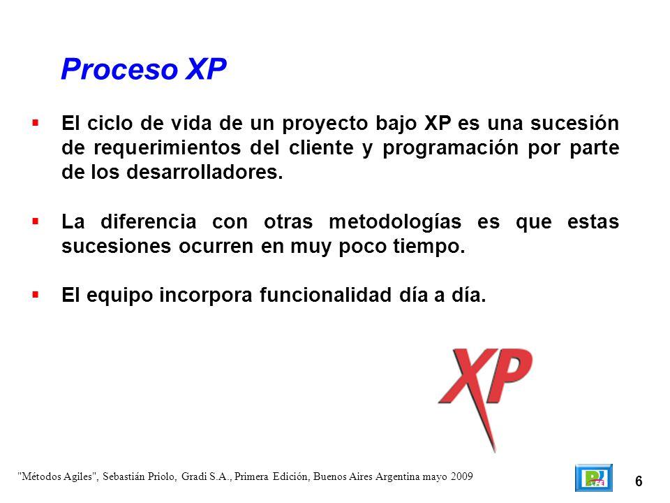 6 El ciclo de vida de un proyecto bajo XP es una sucesión de requerimientos del cliente y programación por parte de los desarrolladores. La diferencia