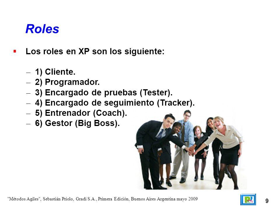 9 Los roles en XP son los siguiente: – 1) Cliente. – 2) Programador. – 3) Encargado de pruebas (Tester). – 4) Encargado de seguimiento (Tracker). – 5)