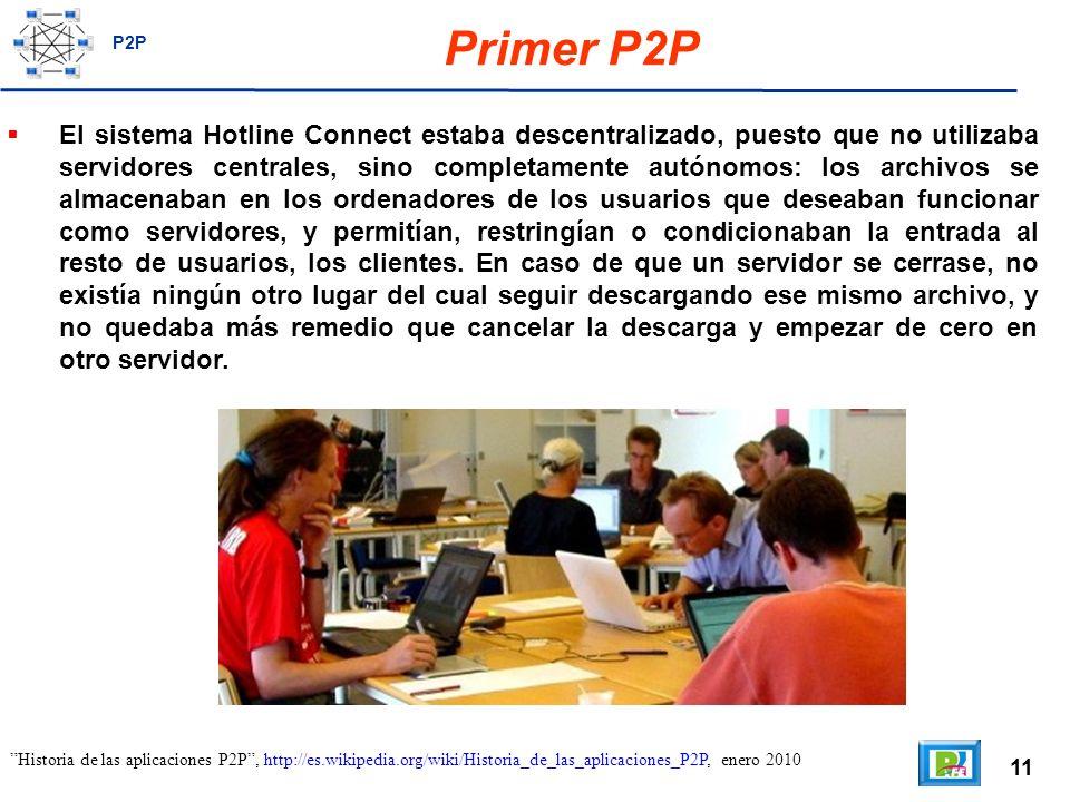 11 Primer P2P El sistema Hotline Connect estaba descentralizado, puesto que no utilizaba servidores centrales, sino completamente autónomos: los archivos se almacenaban en los ordenadores de los usuarios que deseaban funcionar como servidores, y permitían, restringían o condicionaban la entrada al resto de usuarios, los clientes.