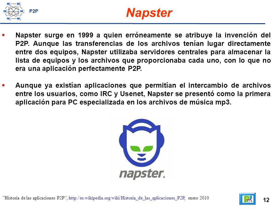 12 Napster Napster surge en 1999 a quien erróneamente se atribuye la invención del P2P.