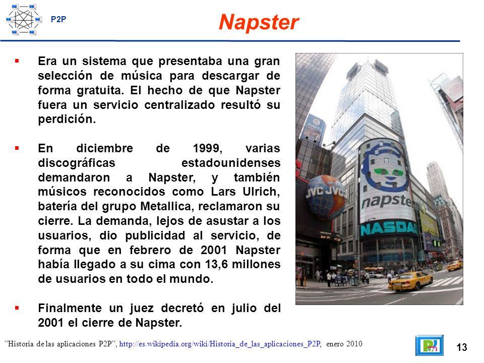 13 Napster Era un sistema que presentaba una gran selección de música para descargar de forma gratuita.