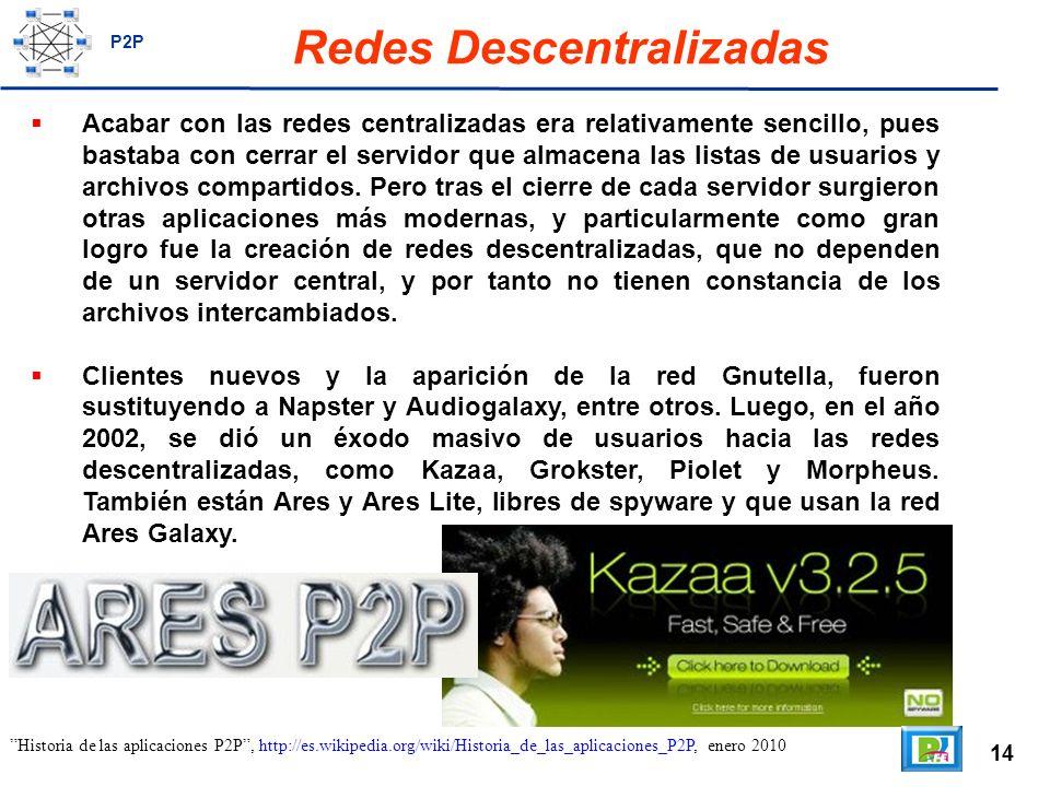 14 Redes Descentralizadas Acabar con las redes centralizadas era relativamente sencillo, pues bastaba con cerrar el servidor que almacena las listas de usuarios y archivos compartidos.