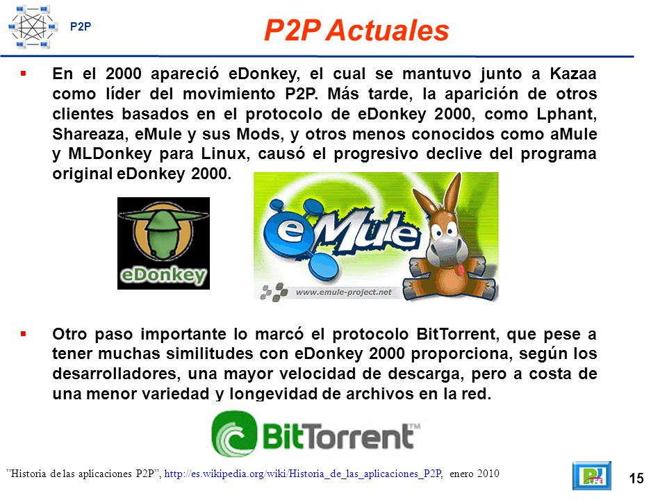 15 P2P Actuales En el 2000 apareció eDonkey, el cual se mantuvo junto a Kazaa como líder del movimiento P2P.