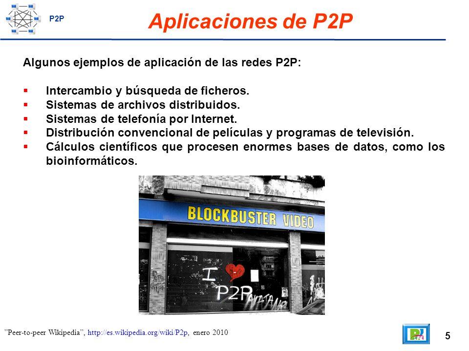 5 Aplicaciones de P2P Algunos ejemplos de aplicación de las redes P2P: Intercambio y búsqueda de ficheros.