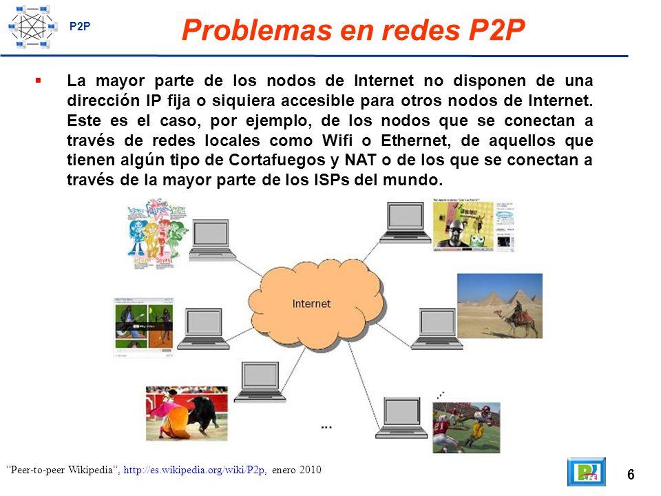 7 Problemas en redes P2P Para el correcto funcionamiento de una red P2P, hay que resolver dos problemas fundamentales: cómo se encuentra un nodo que ya esté conectado a la red P2P y cómo se conectan los nodos sin dirección IP pública entre ellos.