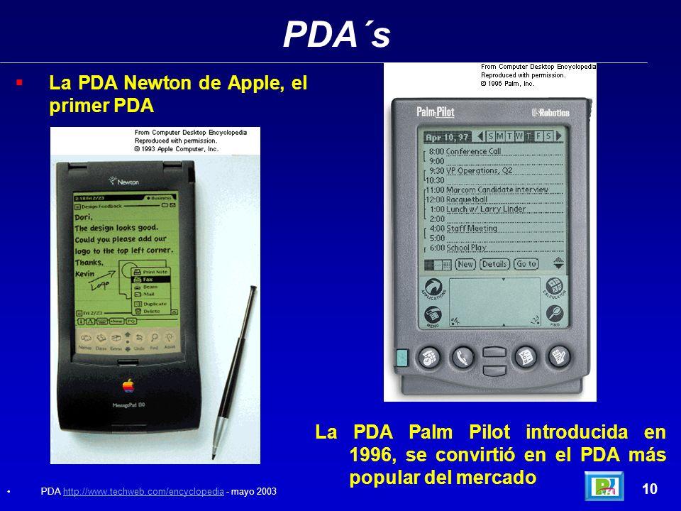 PDA´s 10 La PDA Newton de Apple, el primer PDA La PDA Palm Pilot introducida en 1996, se convirtió en el PDA más popular del mercado PDA http://www.techweb.com/encyclopedia - mayo 2003http://www.techweb.com/encyclopedia