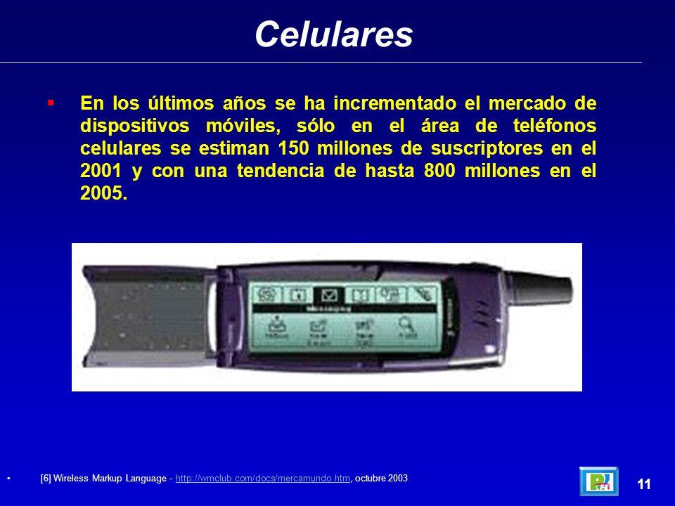Celulares 11 En los últimos años se ha incrementado el mercado de dispositivos móviles, sólo en el área de teléfonos celulares se estiman 150 millones de suscriptores en el 2001 y con una tendencia de hasta 800 millones en el 2005.