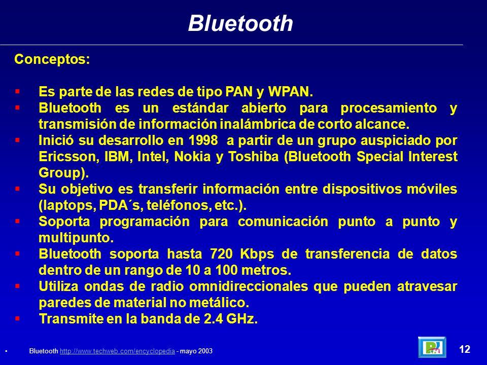 Bluetooth 12 Conceptos: Es parte de las redes de tipo PAN y WPAN.